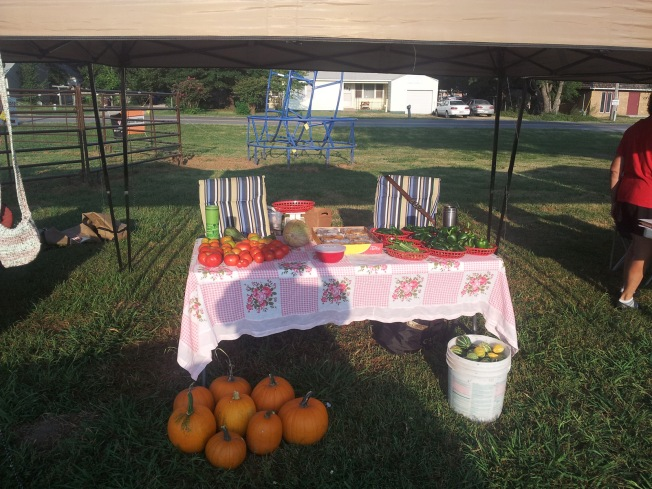 Off Kilter Acres table at Nowata Farmers Market.